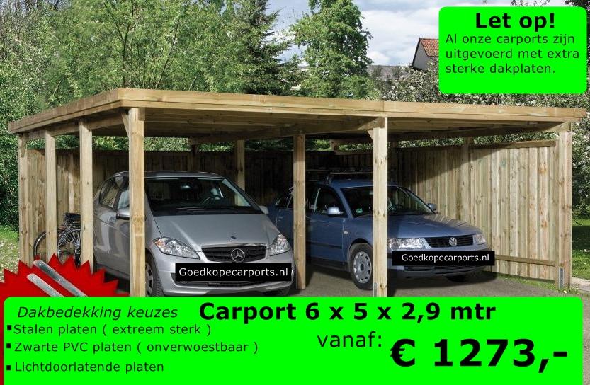 dubbele carport 6 x 5 x 2 90 meter. Black Bedroom Furniture Sets. Home Design Ideas