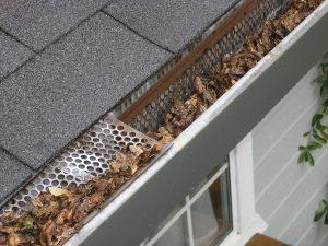 grijze dakgoot aan overkapping met bladeren