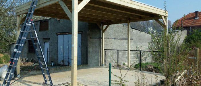 Houten carport zelf bouwen met bouwpakket van geimpregneerd vurenhout