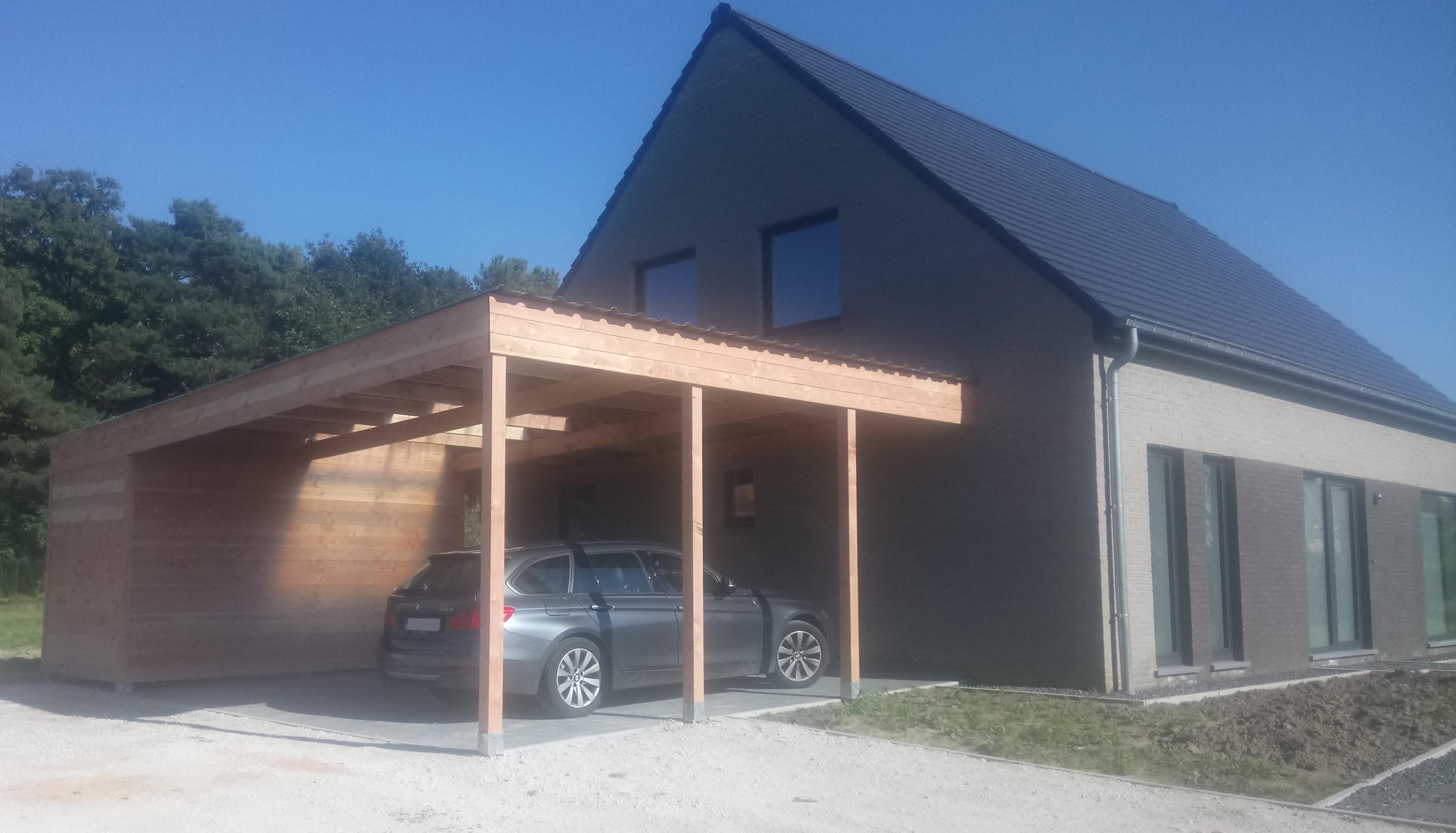 Carport met berging voor één of meer voertuigen - Goedkopecarports.nl