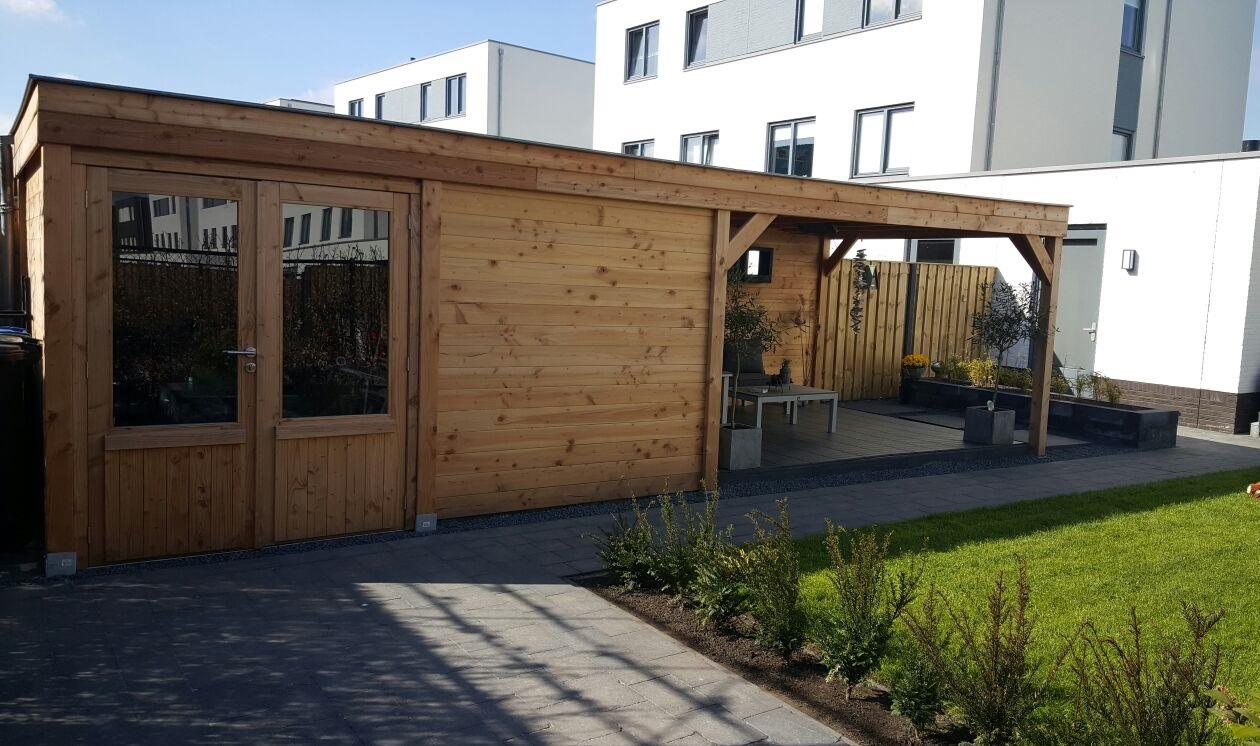 Houten tuinhuis met overkapping bouwpakket of voordelig maatwerk - Overdekt terras in hout ...